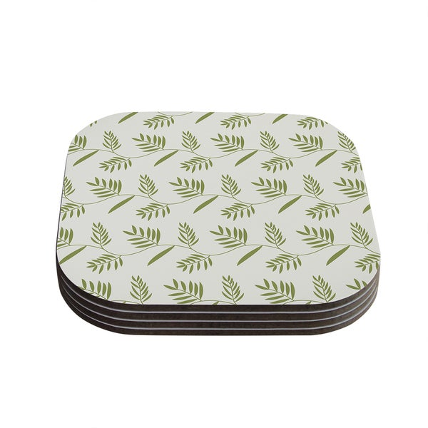 Snap Studio 'Ferngully' Green White Coasters (Set of 4)
