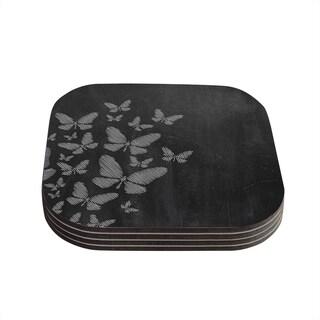 Snap Studio 'Butterflies IV' White Chalk Coasters (Set of 4)
