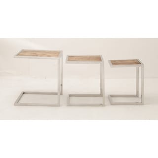 Set of Three Stainless Steel Wood Nesting Tables