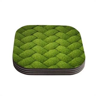 Susan Sanders 'Ivy Basket' Green Weave Coasters (Set of 4)