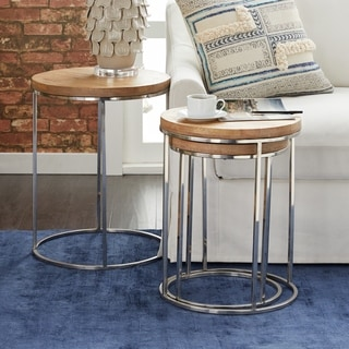 Set of Three Stainless Steel Wood Round Tables