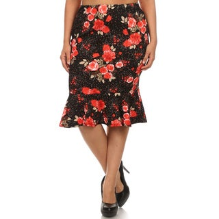 MOA Collection Black/Red Floral Mermaid Skirt