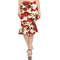 MOA Collection Women's Mermaid-style Floral Skirt