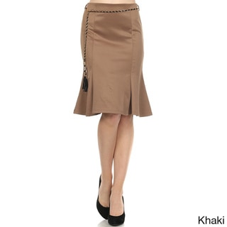 MOA Collection Women's Solid Pleated Belted Skirt