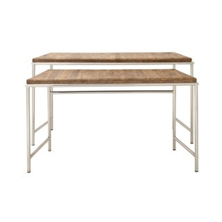 Set of Two Stainless Steel and Wood Console Tables