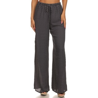 MOA Collection Women's Black Full-length Dotted Casual Pants
