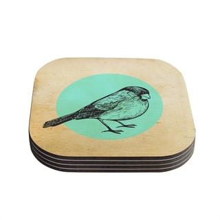 Sreetama Ray 'Old Paper Bird' Teal Circle Coasters (Set of 4)