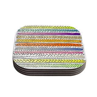 Sreetama Ray 'Dash 3' Dashed Paint Coasters (Set of 4)