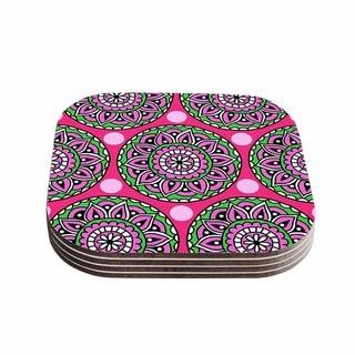 Sarah Oelerich 'Watermelon Mandala' Pink Green Coasters (Set of 4)