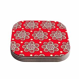 Sarah Oelerich 'Scarlet Flowers' Red Floral Coasters (Set of 4)