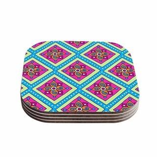 Sarah Oelerich 'Colorful Diamonds' Pink Blue Coasters (Set of 4)