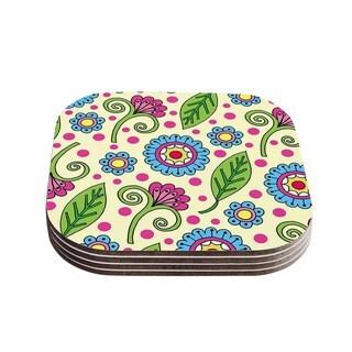 Sarah Oelerich 'Polka Dot Garden' Floral Pattern Coasters (Set of 4)
