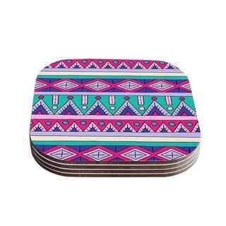 Sarah Oelerich 'Teal Tribal' Pink Purple Coasters (Set of 4)