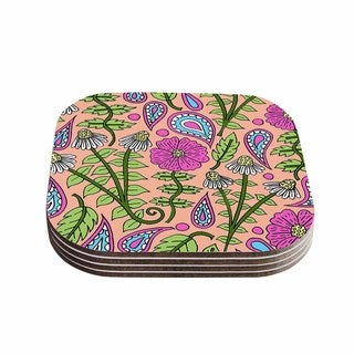 Sarah Oelerich 'Peach Floral Paisley' Pink  Green Coasters (Set of 4)
