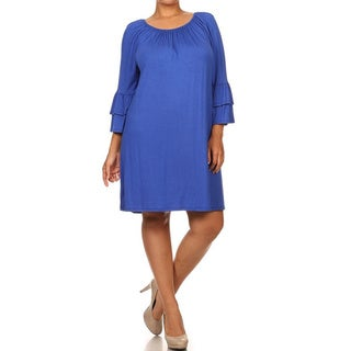 MOA Collection Women's Plus-size Solid-color Bell-sleeve Dress