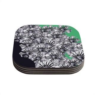 Sonal Nathwani 'Flowers on Green' Coasters (Set of 4)