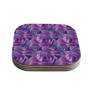 Shirlei Patricia Muniz 'Roses' Lavender Floral Coasters (Set of 4)