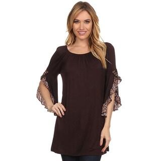 MOA Collection Women's Leopard Print Flutter-sleeve Shirt
