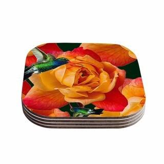 Shirlei Patricia Muniz 'Roses In Hummingbird' Orange Nature Coasters (Set of 4)