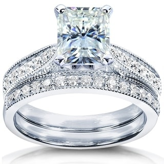 Annello by Kobelli 14k White Gold 1 1/2ct TCW Forever Brilliant Radiant Moissanite and Round Diamond Ring