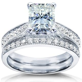Annello by Kobelli 14k White Gold 1 1/2ct TGW Radiant Moissanite (FG) and Round Diamond (GH) Engagement Ring|https://ak1.ostkcdn.com/images/products/11777784/P18689545.jpg?impolicy=medium