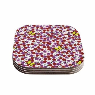 Setsu Egawa 'Cherry Blossom And Butterfly' Red Pink Coasters (Set of 4)