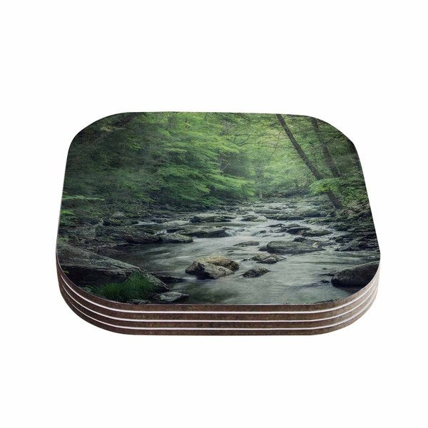 Suzanne Harford 'Misty Forest Stream' Nature Photography Coasters (Set of 4)