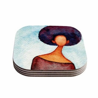 Stacey-Ann Cole 'A Sense Of Self' Blue Brown Coasters (Set of 4)