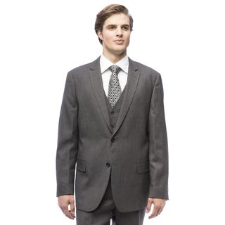 Men's Grey Polyester, Viscose Single Breasted Vested Suit