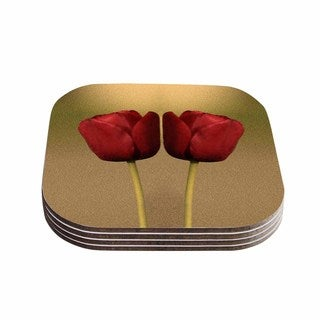 Sylvia Coomes 'Two Of A Kind' Red Floral Coasters (Set of 4)