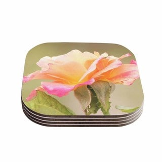 Sylvia Coomes 'Rose In Full Bloom ' Orange Floral Coasters (Set of 4)