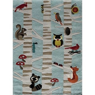 Momeni Lil Mo Whimsy Light Blue Forest Critters Hand-Tufted and Hand-Carved Rug (2' X 3')