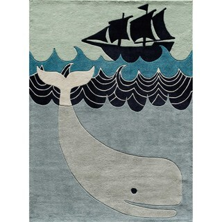 Momeni Lil Mo Whimsy Multicolor Blue Whale Tail Hand-Tufted and Hand-Carved Rug (2' X 3') - 2' x 3'