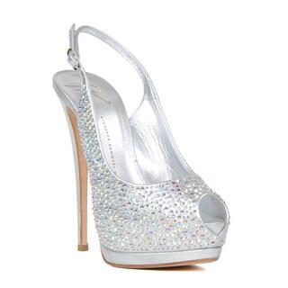 Giuseppe Zanotti Women's Silver Leather Heel Sandal