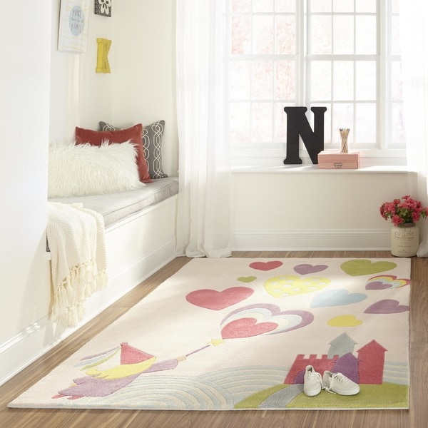 Momeni Lil Mo Whimsy Pink Princess Castle Hand-Tufted and Hand-Carved Rug (8' X 10')