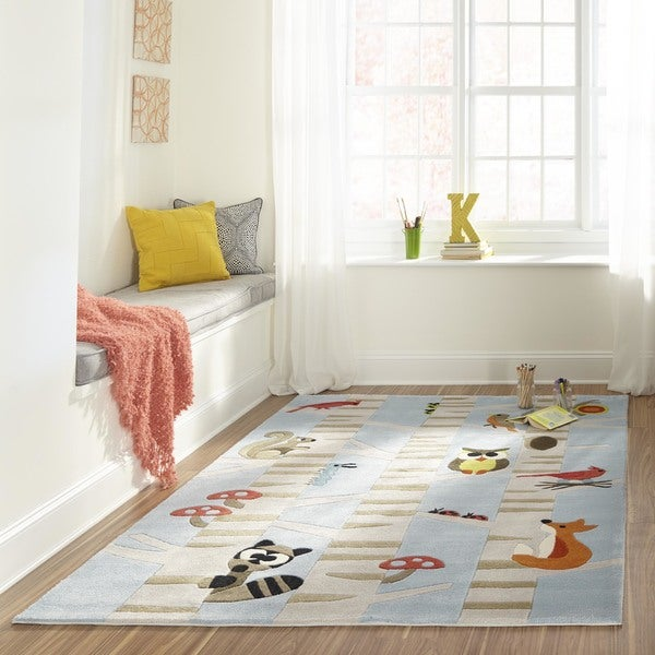 Momeni Lil Mo Whimsy Light Blue Forest Critters Hand-Tufted and Hand-Carved Rug (8' X 10')
