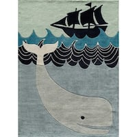 Momeni Lil Mo Whimsy Multicolor Blue Whale Tail Hand-Tufted and Hand-Carved Rug (8' X 10')