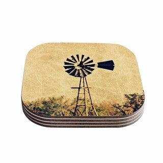 Sylvia Coomes 'We Are In Kansas ' Tan Travel Coasters (Set of 4)