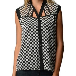 Checkerboard Chiffon Tank Top