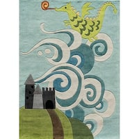 Momeni Lil Mo Whimsy Sky Magical Dragon Hand-Tufted and Hand-Carved Rug - 4' x 6'