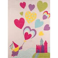 Momeni Lil Mo Whimsy Pink Princess Castle Hand-Tufted and Hand-Carved Rug - 4' x 6'