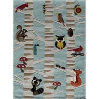 Momeni Lil Mo Whimsy Light Blue Forest Critters Hand-Tufted and Hand-Carved Rug - 4' x 6'