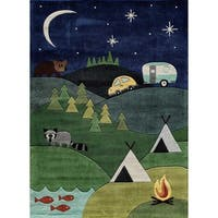 Momeni Lil Mo Whimsy Blue Camping Fun Hand-Tufted and Hand-Carved Rug - 4' x 6'