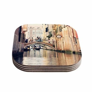 Sylvia Coomes 'Venice 10' Beige Brown Coasters (Set of 4)