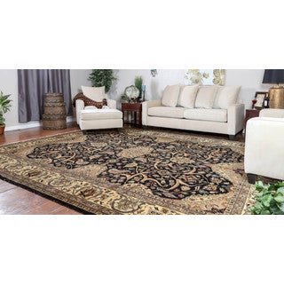 Somette Hand-knotted Isfahan Black Oriental Wool Area Rug (10' x 14')