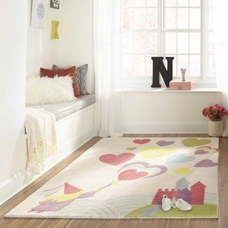Momeni Lil Mo Whimsy Pink Princess Castle Hand-Tufted and Hand-Carved Rug (3' X 5')