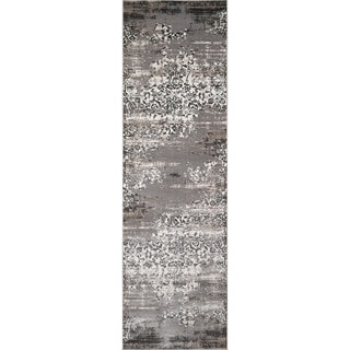 Machine Made Mardin Grey Polypropylene & Viscose Rug (2'3 x 7'6)