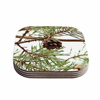 Sylvia Coomes 'Pinecone' Green Brown Coasters (Set of 4)