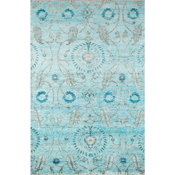 """Artiste Hand-Knotted Blue Floral Rug (8'9 x 11'9) - 8'9"""" x 11'9"""""""