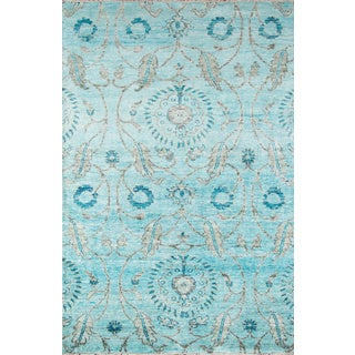 Hand Knotted Vintage Replica Blue Wool Rug 9 0 X 12 0